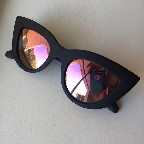 Cat Lenses Sunglasses Eye Boutique Matte Black Pink Qtshrd
